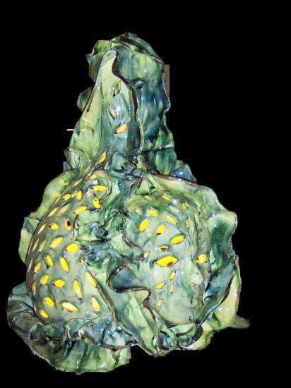 Lampe Sculpture en terre vernissée